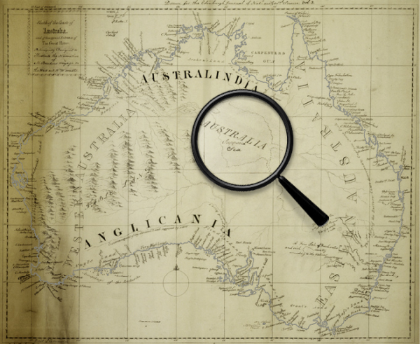 """Detail of the map from A Friend of Australia, showing the """"Supposed Sea"""". From the State Library of New South Wales."""