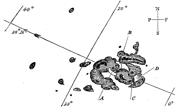 Diagram of the Flare of 1859 drawn by Richard C. Carrington. Public Domain image.