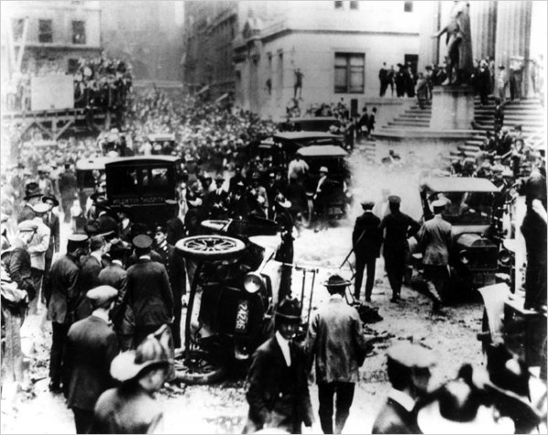 The aftermath of the 1920 Wall Street bombing. The NY Stock Exchange is the columned building in the upper right. From the New York World-Telegram & Sun archives, now in the public domain.