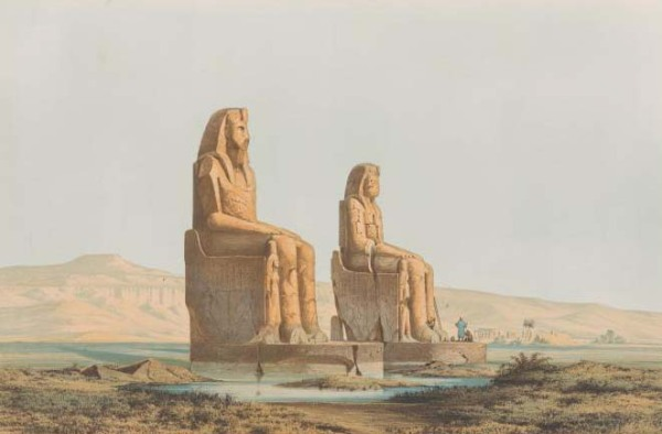 "The Colossi of Memnon, detail of a chromolithograph by Ernst Weidenbach made after a Prussian archaeological expedition in 1842-45. The ""speaking"" statue is the one on the right. Public domain image."
