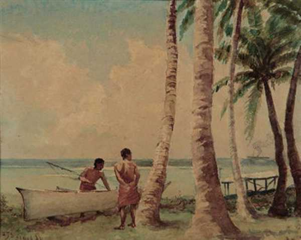 """Samoan Island"", by Joseph Dwight Strong. Strong was the state-assigned artist for the Hawaiian Ka'imiloa expedition to Samoa in 1887, though this picture is from a few years later. Public Domain Image."